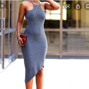 Express Asymmetrical Midi Dress in Heather Grey
